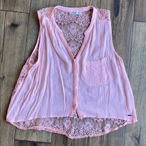 ❗️3 FOR $25❗️🎀Pink Lace Hollister Tank🎀